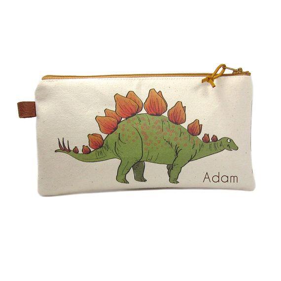 Pencil Case Pencil Bag Dinosaur Pencil Case by modernandvintage