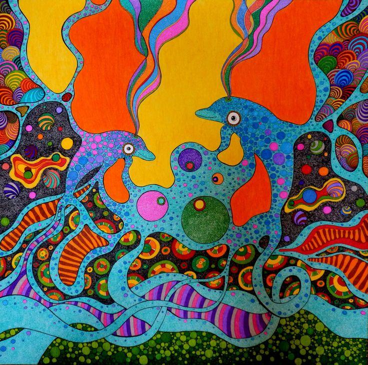 """Make fun, have fun"" rysunek 60x60cm, cienkopisy, pisaki, pastele olejne, sygnowany"