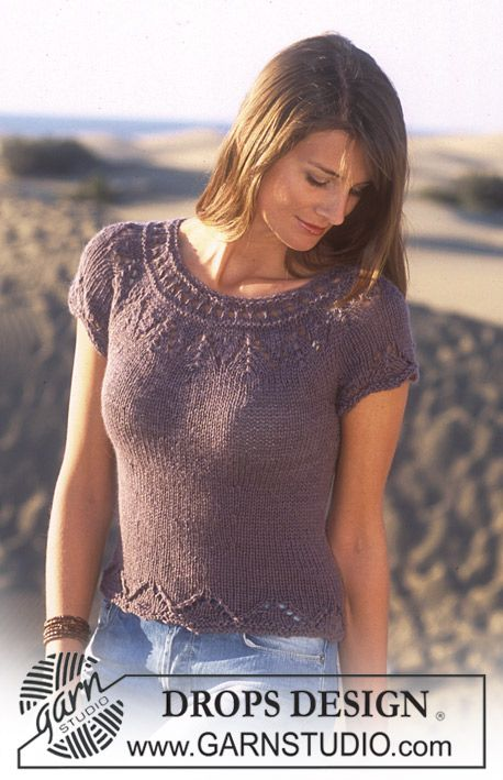 Short sleeved top with lace edge and yoke
