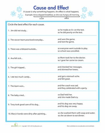 Worksheets: Identifying Cause and Effect