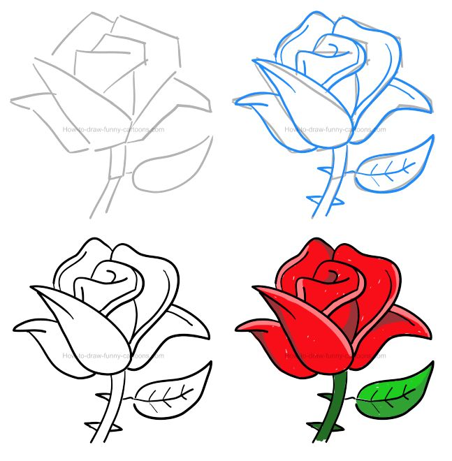 How to draw a cartoon rose | Roses drawing, Flower drawing ...