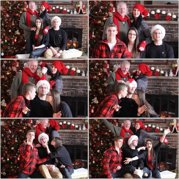 Christmas family photo ideas. Christmas collage. Christmas fun. Wear something red.