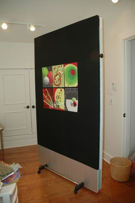 portable design wall  This is a great idea!  - made from foam insulation boards and a rolling clothes rack!  xxx