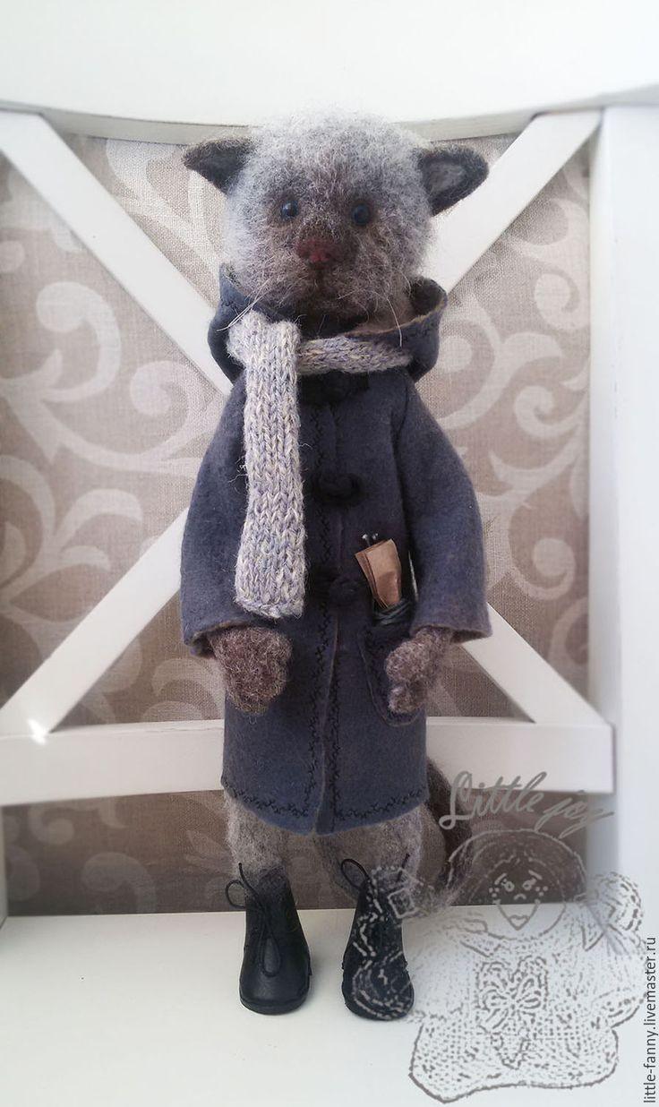 """Купить Игрушка """"Кот в пальто"""" - серый, кот, котик, котенок, пальто, игрушка, ботинки из кожи"""