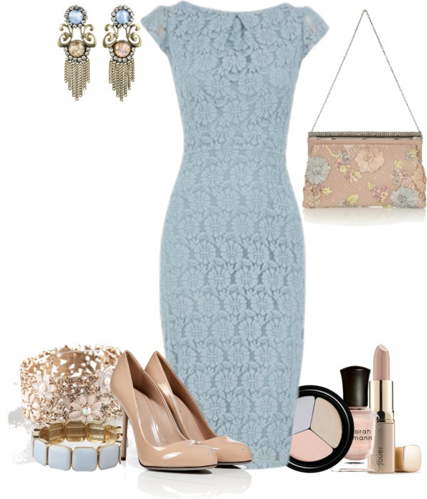 """blue lace dress"" by meganpearl on Polyvore"