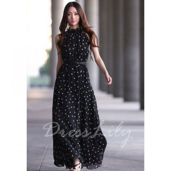 Alluring Keyhole Neckline Polka Dot Women's Maxi Dress With Belt