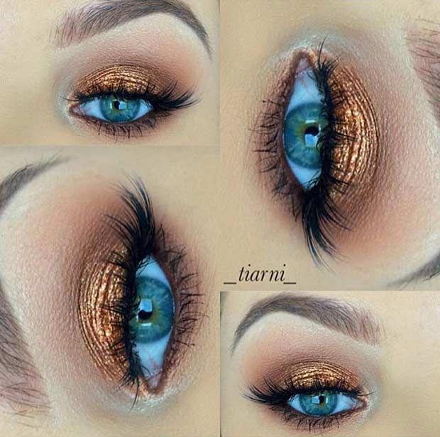 Bronze Eye Makeup Look For Blue Eyes Gorgeouseyemakeup Bronze