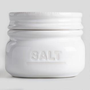 White Ceramic Salt Cellar with Lid