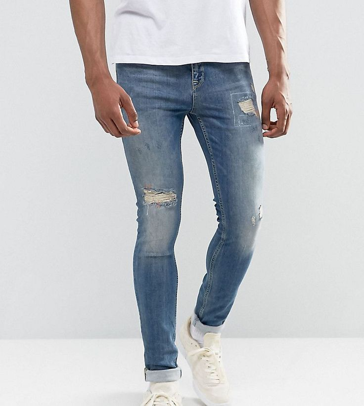ASOS TALL Super Skinny Jeans In Mid Blue With Rip And Repair - Blue