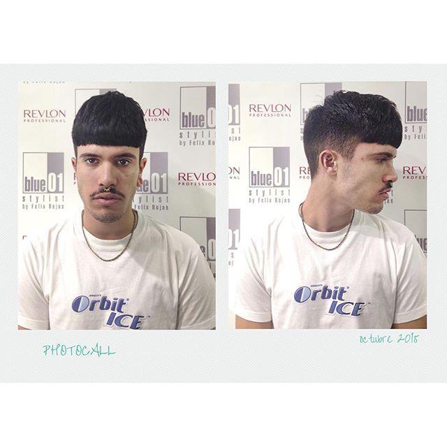 Adrián corte con flequillo recto. Gran trabajo Mónica del salón de Urquinaona.  #blue01stylist #photocall #style #hair #pelo #coolhair #looks #instahair #hairstyle #instadaily #instagood #peluquerias #cabello #peluqueriabarcelona #hairoftheday #hairfashio