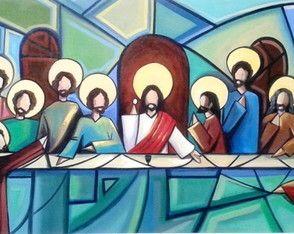 Quadro pintura em tela-Santa ceia