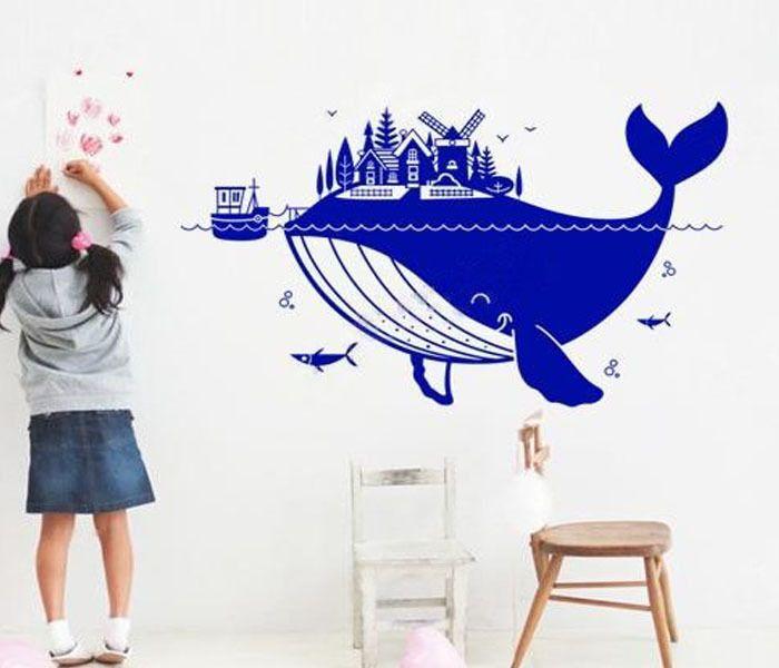 Pas cher enfants wall sticker pépinière stickers muraux stickers art stickers pour enfants belle whale bateau