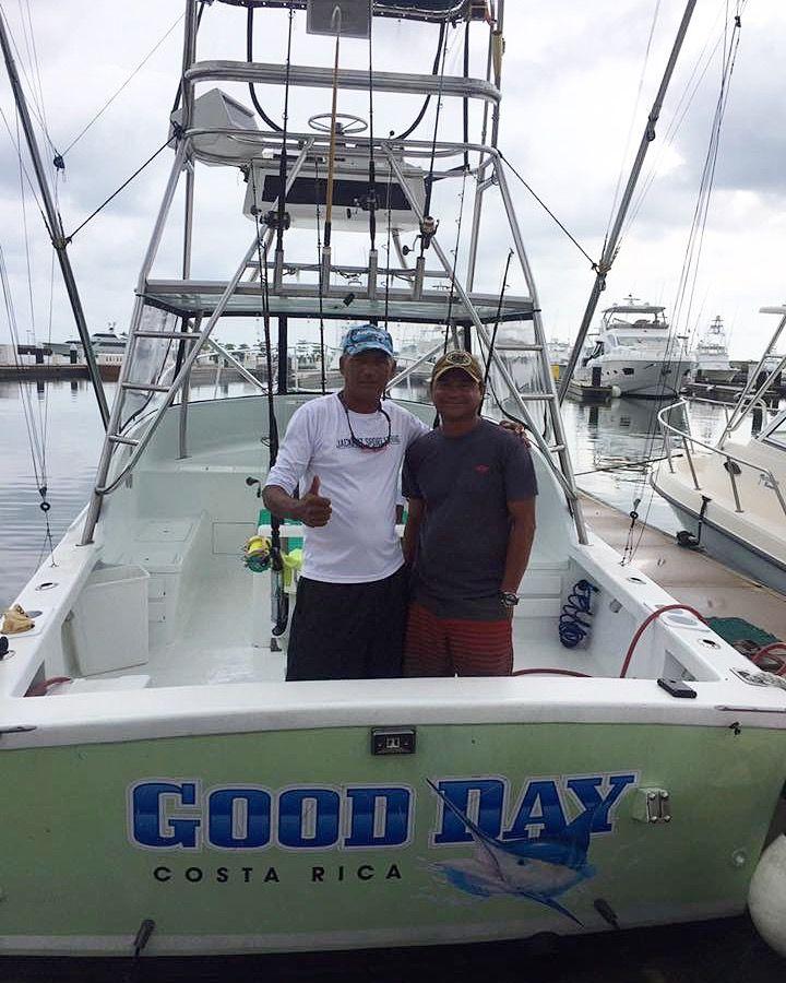Past & Present!  The current & previous Captains of GOOD DAY Manuel Gabuardi & Rolando Gonzales here at the Marina Pez Vela this week. #jackpotsportfishing