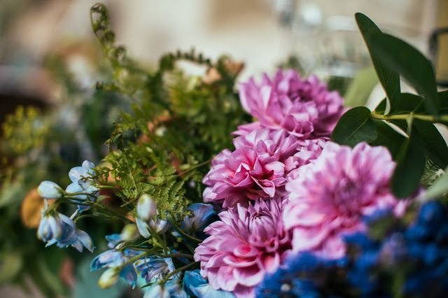 Wedding flowers decoration. rustic/ vintage. Pink and blue