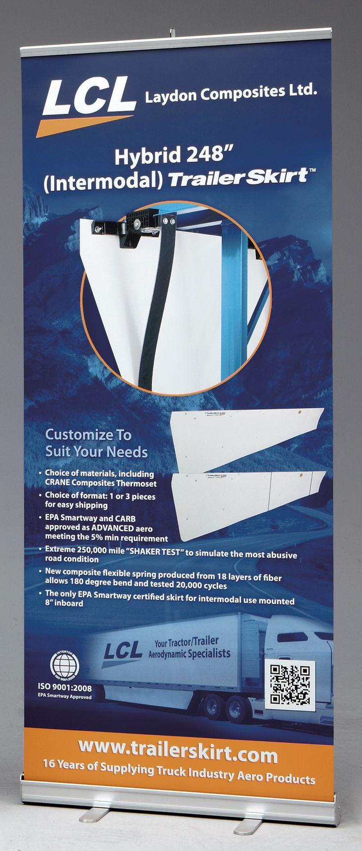 Retractable Banner Stand for Laydon Composite Ltd. (LCL) Hybrid Trailer Skirt [bcreative - Bochsler Creative Solutions]