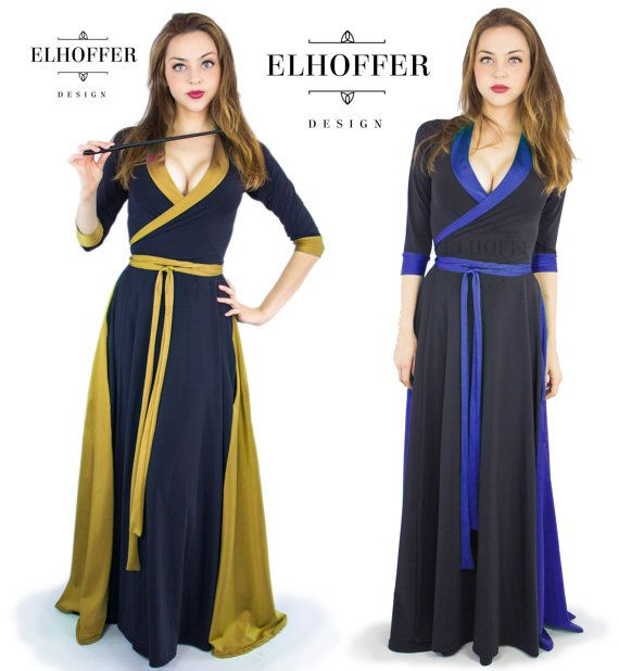 Ravenclaw colors - Magical Maxi Wrap Dress by elhofferdesign on Etsy