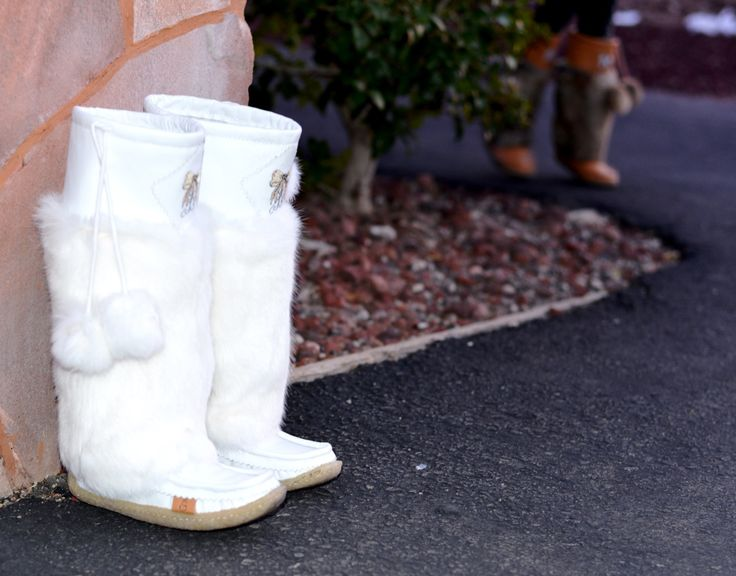 #lukluks are made of plush rabbit fur and leather with a soft crepe sole. We work hard to design the most comfortable #boots. #mukluks #whiteboots #canada #edmonton #calgary