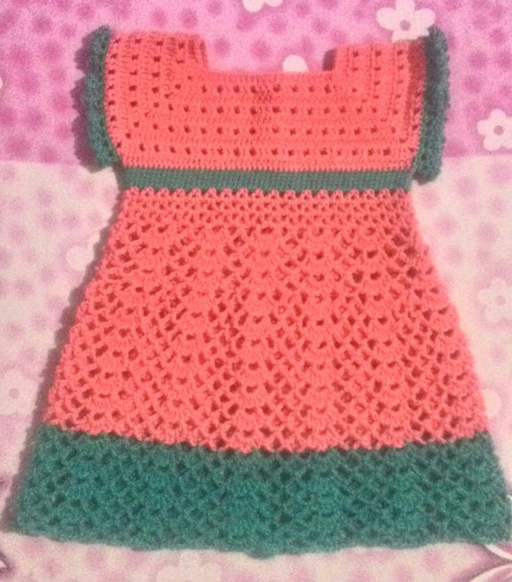 Crochet baby dress for 0-3 month