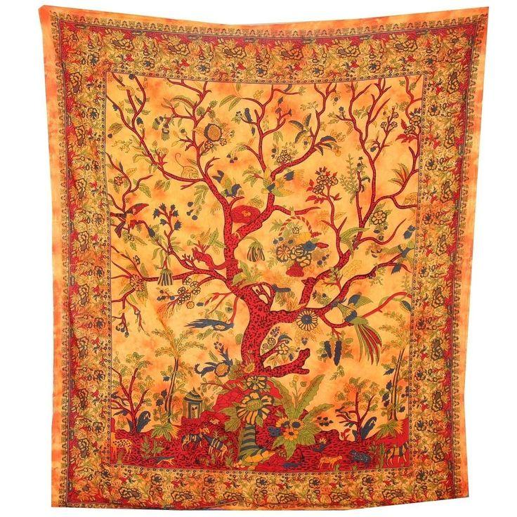 Tagesdecke Lebensbaum orange 235x205cm bunte Vögel Blumen indische Decke Baumwolle Tie Dye Style: Amazon.de: Küche & Haushalt