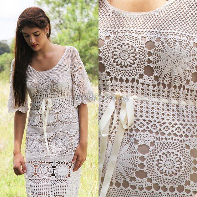 Красивое длинное платье из мотивов. Схемы вязания крючком