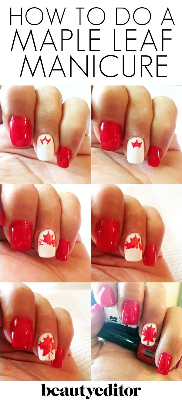 Celebrate #CanadaDay with a Maple Leaf Manicure: http://beautyeditor.ca/2013/06/28/celebrate-canada-day-with-the-maple-leaf-mani/