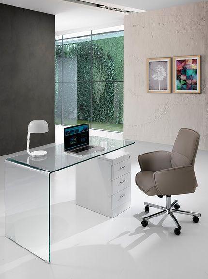 Contemporary Office Scrivania Bow Trasparente/Bianco su Amazon BuyVIP