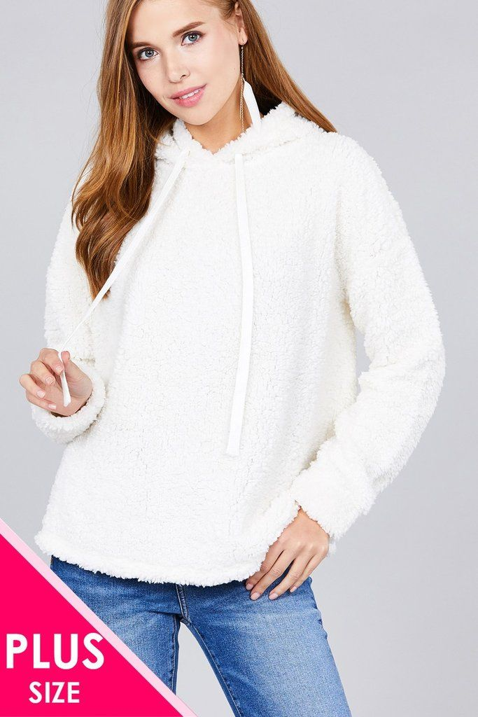 be94f329a5 Ladies fashion plus size long sleeve hoodie drawstring faux fur top ...