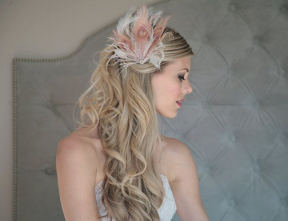 the Adelaide French Pink feather hair clip by vintagepearlclothing