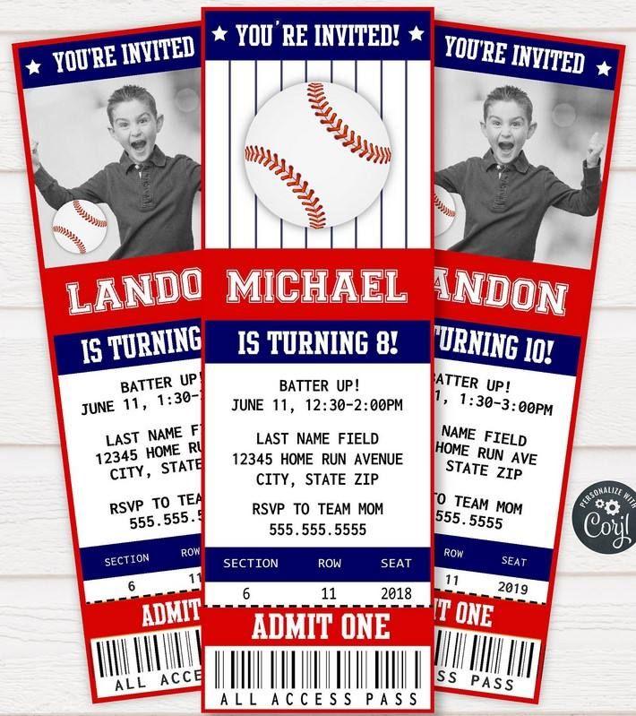 Free Printable Baseball Ticket Invitation Template