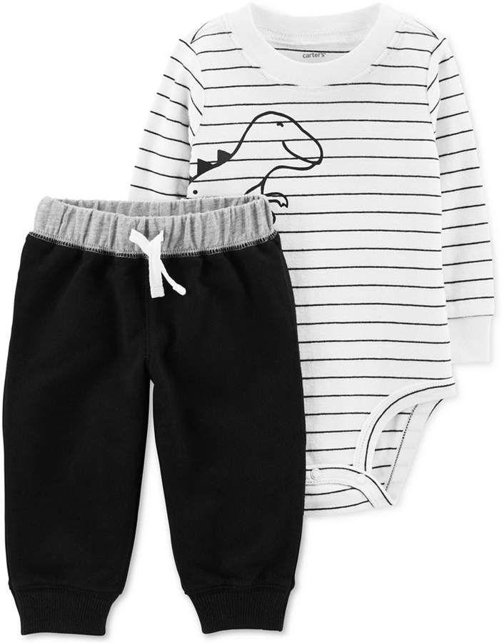 Carter s Baby Boys 2-Pc. Cotton Striped Dinosaur-Print Bodysuit   Jogger Pants  Set 92ca0e437