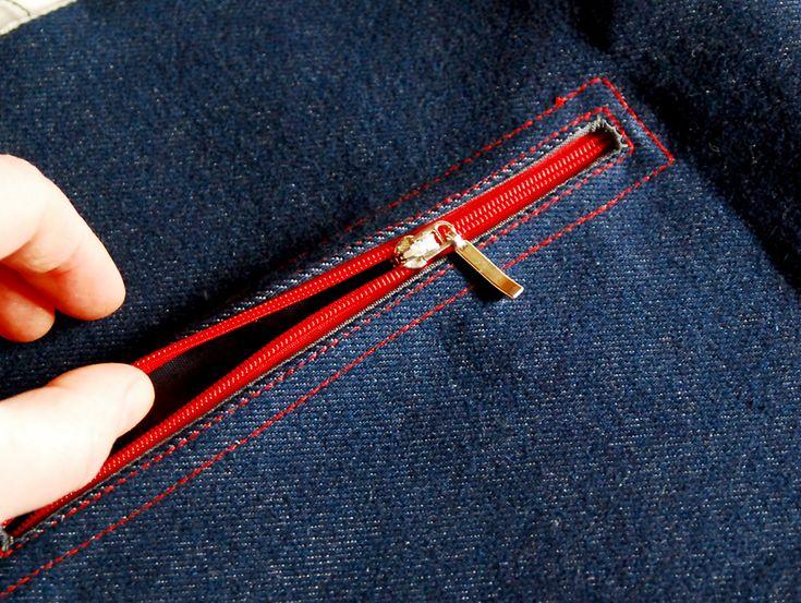 Как сшить карман на молнии в сумке