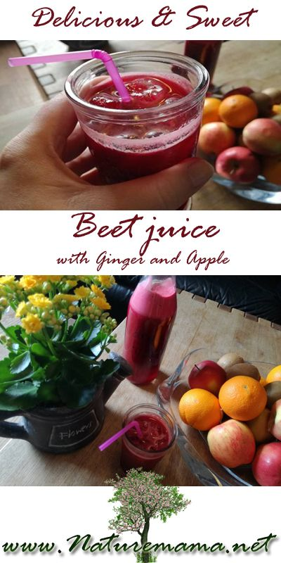 This is the most delicious Beet juice with ginger and apple to sweeten the taste. Perfect for adding a little veggies to your childrens juice! To get the recipe visit my blog: www.naturemama.net