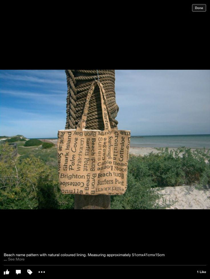 Jute bag - Beach names Handmade fully lined bag in natural colour, complete with two internal pockets.  Approx 51x41x15cm  $30.00 each