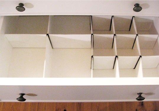 Prácticos organizadores para cajones realizados en cartón.