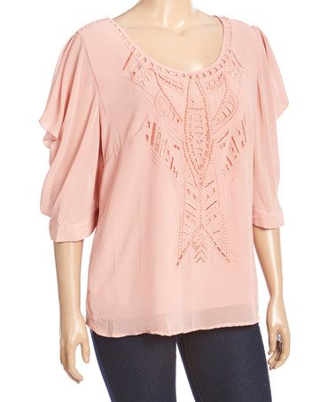 Another great find on #zulily! Blush Embroidered Flutter-Sleeve Top - Plus by Simply Irresistible #zulilyfinds