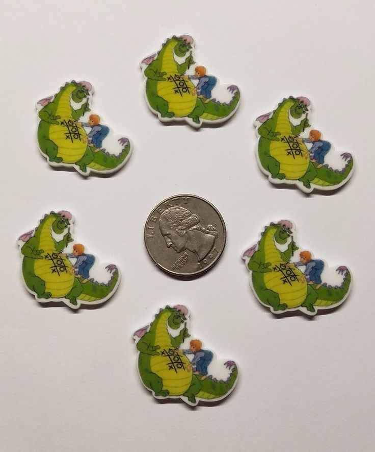 6 Pete's Dragon Inspired Flatback Cabochons Resin-Embellishment  #Unbranded