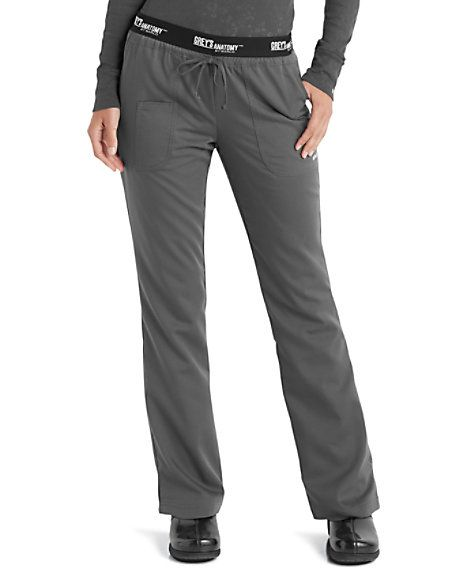 MAXIMUM STYLE FOR MARATHON DAYSThe eye catching Grey's Anatomy logo at the waist of the low rise scrub pant is not the only reason you'll want to stock up on more than just one pair of these scrub pants.  The effortless fit, consistent comfort, and stylish accents-such as small side slits on the leg-guarantee this top seller will have your full approval.  Grey's Anatomy 3 Pocket Logo Waist Scrub Pants  Low rise, drawstring waist  Grey's Anatomy logo at the waist  Three pockets...