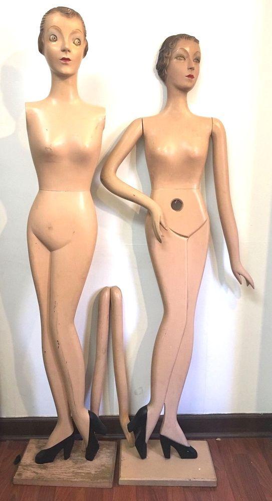 1930s Art Deco Woodikin Pair Wooden Store Mannequins Dress Forms by Oscar Segall #Woodikin #ArtDeco