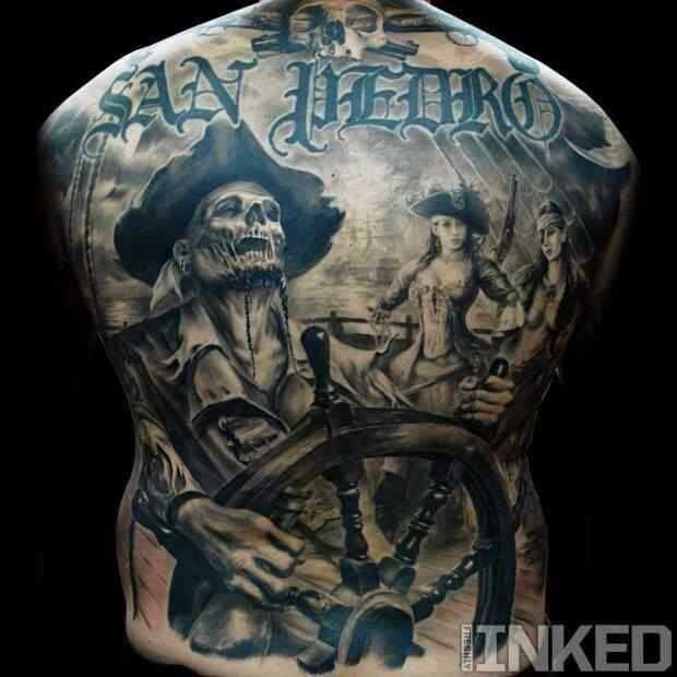 Pirates tattoo Back piece | Tattoo | Pinterest | Grey ...