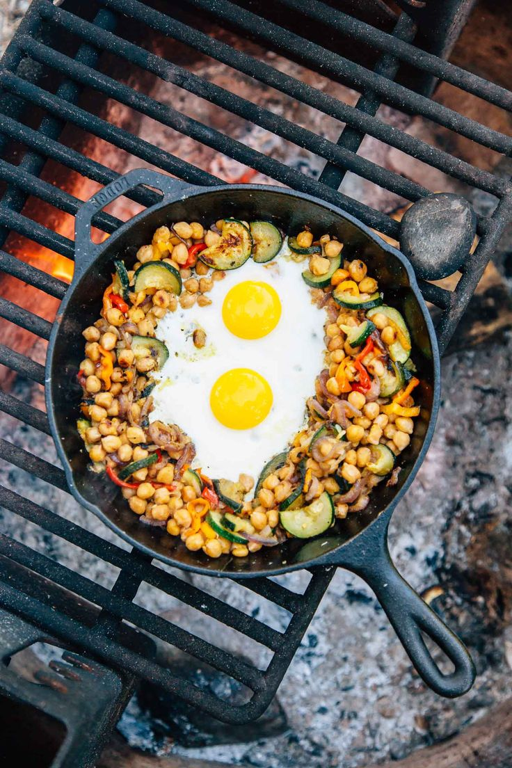 A twist on a classic breakfast hash. Using chickpeas instead of potatoes adds protein and staying power, keeping you full until lunch! An easy vegetarian + gluten free breakfast to cook while camping or at home.