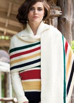 BLANKET STATEMENT A sweater and shawl take inspiration from an North American classic: the Hudson's Bay Co. point blanket. I love it