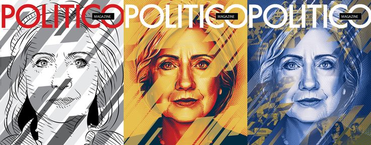 Cover illustration for Politico Magazine's issue for the 2016 Democratic National Convention, featuring the presumptive nominee, Hillary Clinton.
