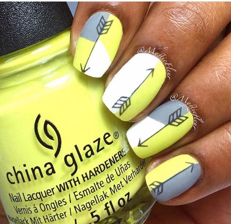 Neon Yellow, Grey & White w/ Arrow Nails