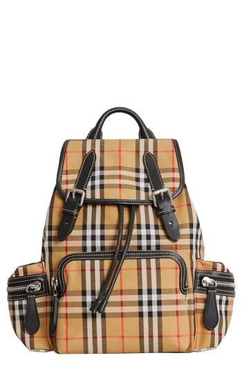 Burberry Medium Rucksack Check Cotton Backpack Stylish Backpacks