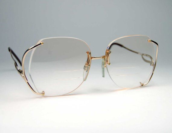 Vintage Luxottica Gold Rimless Eyeglass Frames Made In