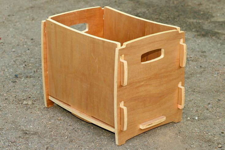 Made from discount Agathis plywood (I'm not above haggling at Home Depot for damaged plywood). CNC cut on a Joe's Hybrid 4x4 CNC. Totally collapsable, but very sturdy when assembled. Multiple boxes nest perfectly!