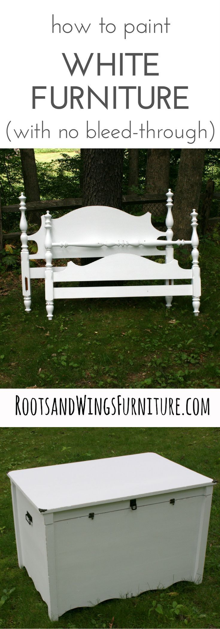 How to confidently use white paint without fear of bleed through. A General Finishes Stain Blocker review by Jenni of Roots and Wings Furniture.