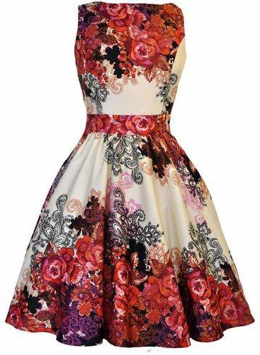 Krémové šaty s tmavě červenými růžemi Lady V London Tea