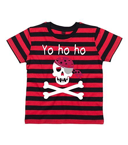 RED & BLACK STRIPED Children's T-Shirt 'YARRR M'HEARTIES' 'YO HO HO' with White, Red & Silver Print.