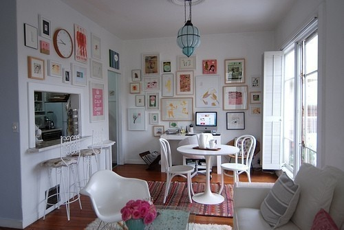 sfgirlbybay: art clusters & eames chair, white furniture